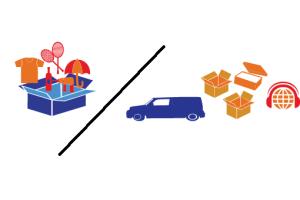 caja con cosas y camion cajas
